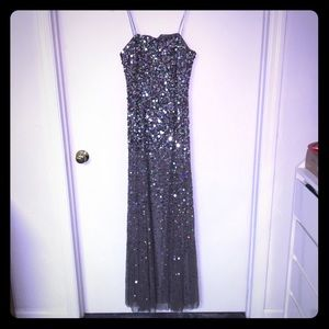 Gray strapless sequin maxi dress